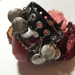 Accessories - ☮️HP☮️Bohemian Leather Silver Chain/Charm Bracelet